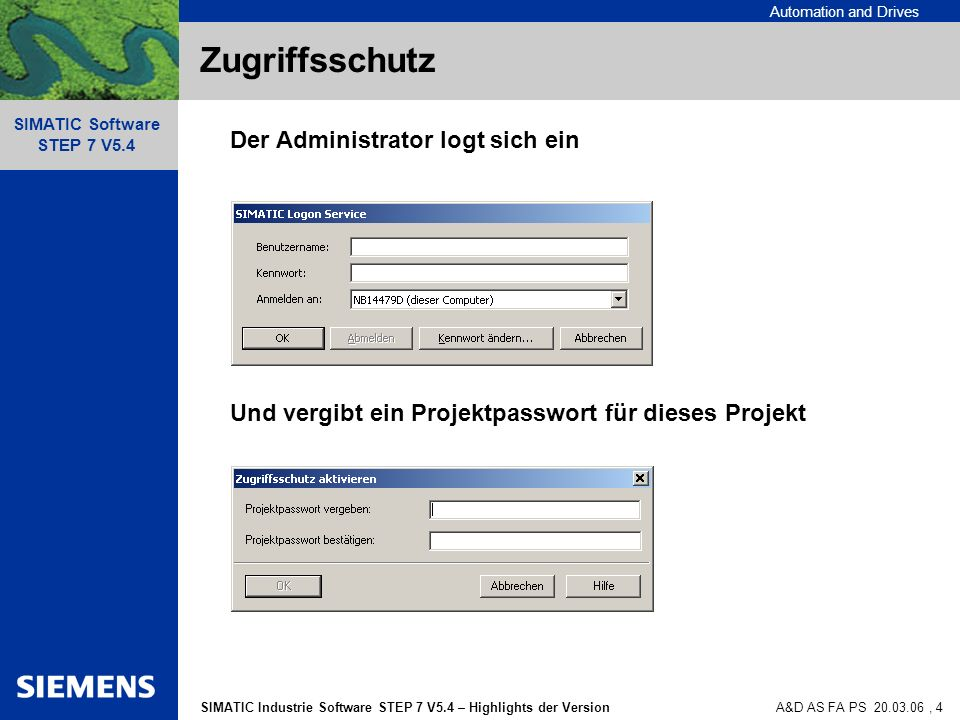 Automation and Drives SIMATIC Industrie Software STEP 7 V5.4 – Highlights der Version SIMATIC Software STEP 7 V5.4 A&D AS FA PS 20.03.06, 4 Zugriffssc