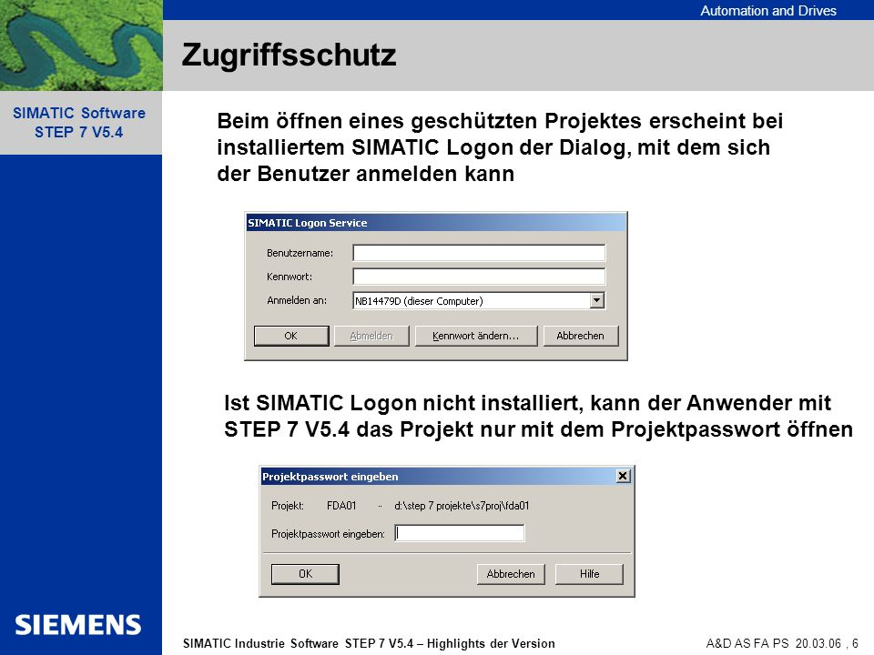 Automation and Drives SIMATIC Industrie Software STEP 7 V5.4 – Highlights der Version SIMATIC Software STEP 7 V5.4 A&D AS FA PS 20.03.06, 6 Zugriffssc