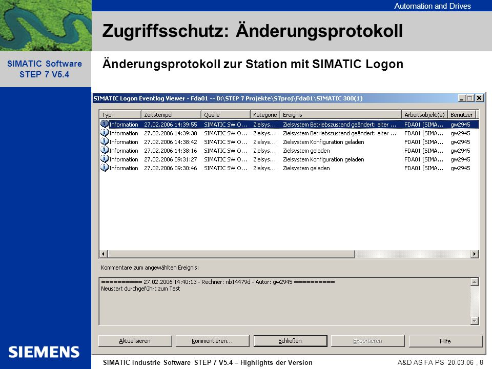 Automation and Drives SIMATIC Industrie Software STEP 7 V5.4 – Highlights der Version SIMATIC Software STEP 7 V5.4 A&D AS FA PS 20.03.06, 19 PROFINET IO Offline / Online Vergleich
