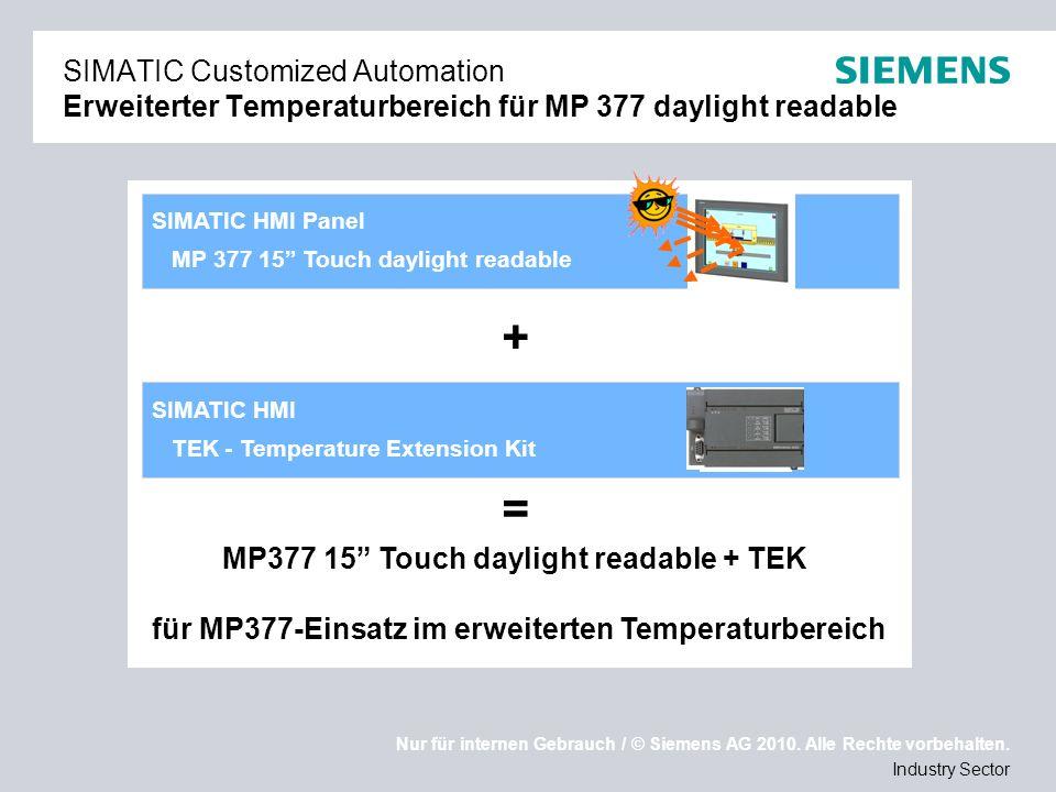 Nur für internen Gebrauch / © Siemens AG 2010. Alle Rechte vorbehalten. Industry Sector SIMATIC HMI TEK - Temperature Extension Kit SIMATIC HMI Panel
