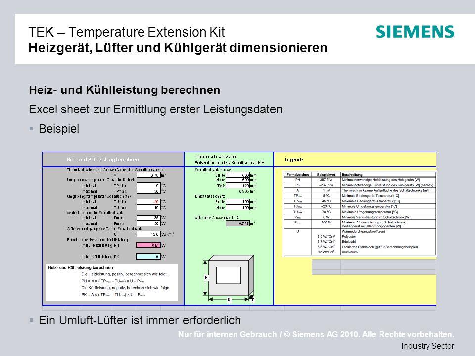 Nur für internen Gebrauch / © Siemens AG 2010. Alle Rechte vorbehalten. Industry Sector TEK – Temperature Extension Kit Heizgerät, Lüfter und Kühlgerä