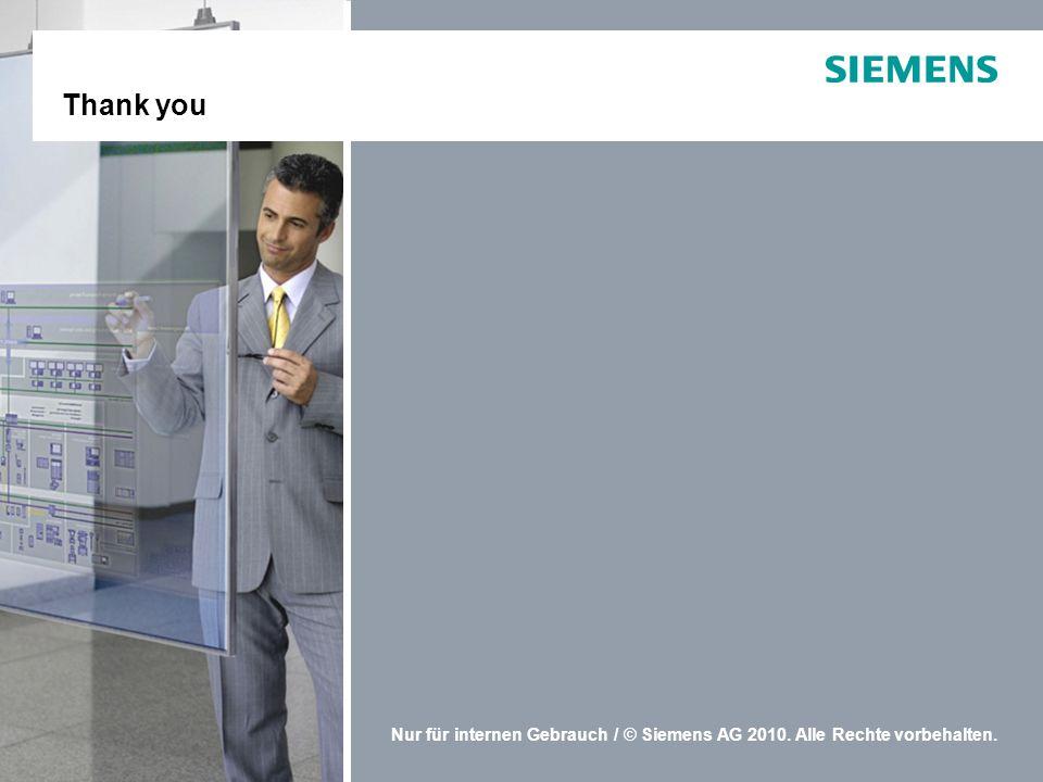 Nur für internen Gebrauch / © Siemens AG 2010. Alle Rechte vorbehalten. Thank you