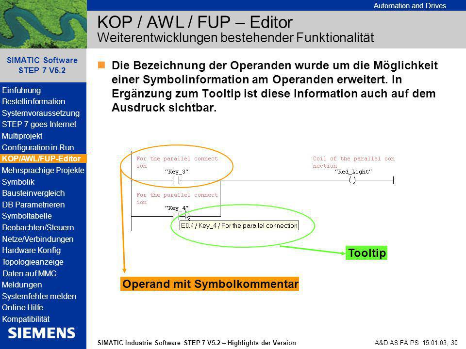 Automation and Drives SIMATIC Industrie Software STEP 7 V5.2 – Highlights der Version SIMATIC Software STEP 7 V5.2 A&D AS FA PS 15.01.03, 30 KOP / AWL