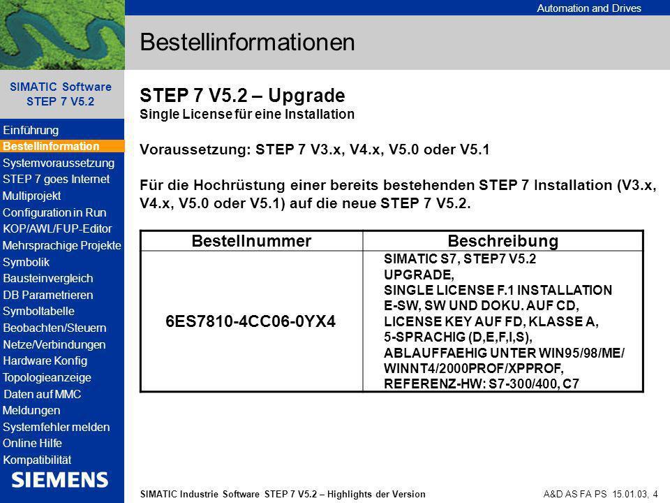 Automation and Drives SIMATIC Industrie Software STEP 7 V5.2 – Highlights der Version SIMATIC Software STEP 7 V5.2 A&D AS FA PS 15.01.03, 15 Systemvoraussetzungen - Hardware Lesehilfe: Betriebssystem Windows NT 4.0 und freien Festspeicherplatz 1 Gbyte.