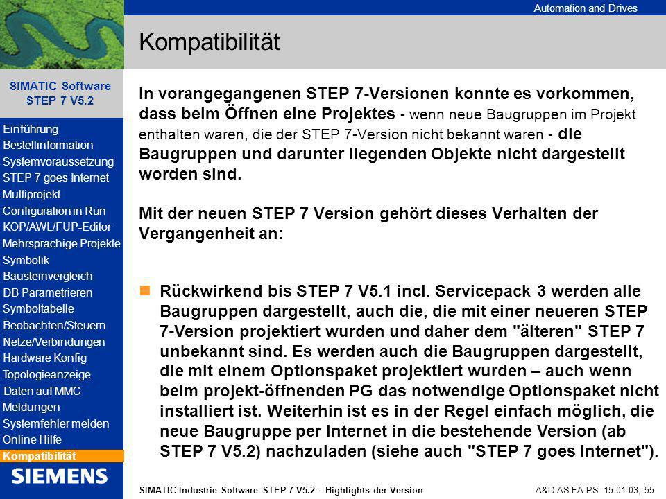 Automation and Drives SIMATIC Industrie Software STEP 7 V5.2 – Highlights der Version SIMATIC Software STEP 7 V5.2 A&D AS FA PS 15.01.03, 55 Kompatibi