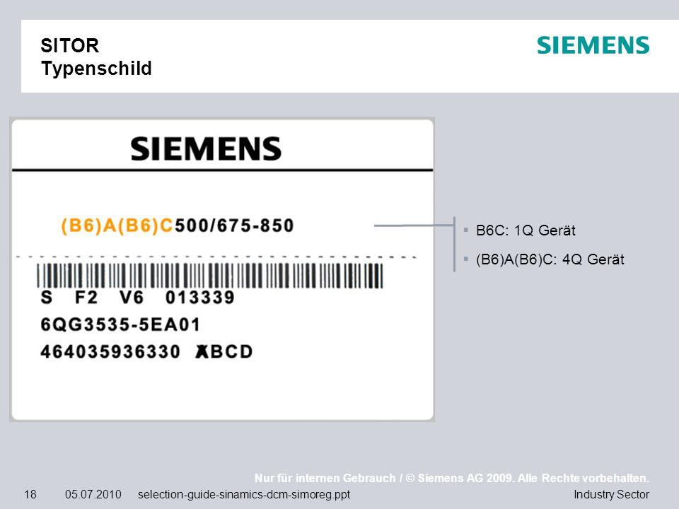 Nur für internen Gebrauch / © Siemens AG 2009. Alle Rechte vorbehalten. Industry Sector18 05.07.2010 selection-guide-sinamics-dcm-simoreg.ppt SITOR Ty