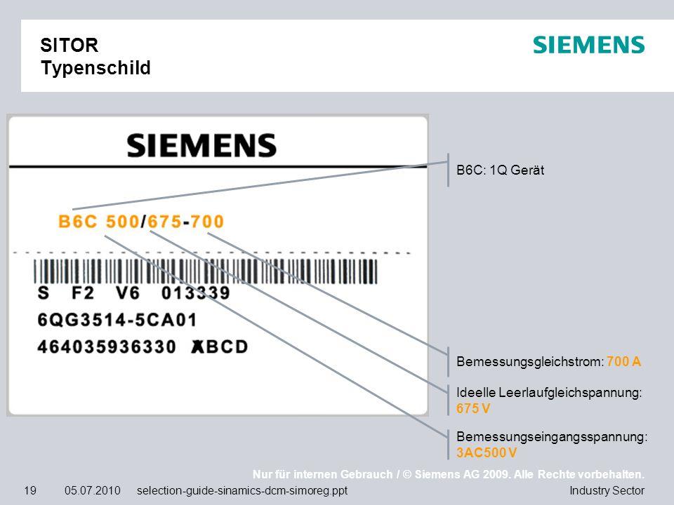 Nur für internen Gebrauch / © Siemens AG 2009. Alle Rechte vorbehalten. Industry Sector19 05.07.2010 selection-guide-sinamics-dcm-simoreg.ppt SITOR Ty