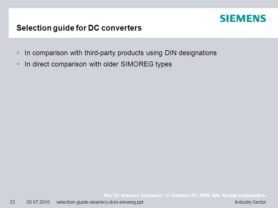 Nur für internen Gebrauch / © Siemens AG 2009. Alle Rechte vorbehalten. Industry Sector23 05.07.2010 selection-guide-sinamics-dcm-simoreg.ppt Selectio