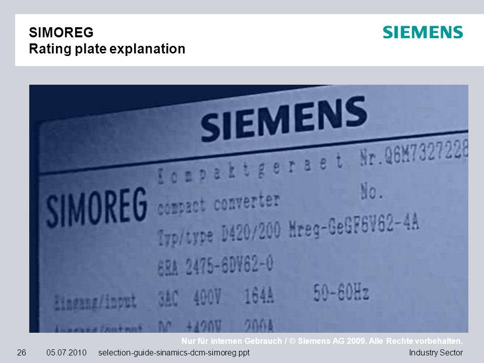 Nur für internen Gebrauch / © Siemens AG 2009. Alle Rechte vorbehalten. Industry Sector26 05.07.2010 selection-guide-sinamics-dcm-simoreg.ppt SIMOREG