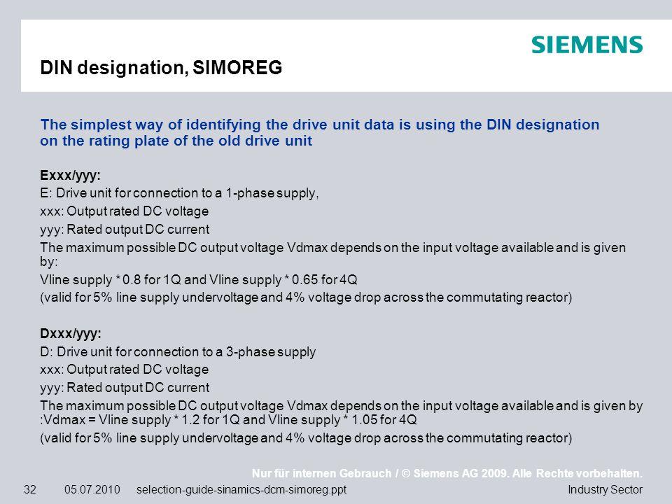 Nur für internen Gebrauch / © Siemens AG 2009. Alle Rechte vorbehalten. Industry Sector32 05.07.2010 selection-guide-sinamics-dcm-simoreg.ppt DIN desi