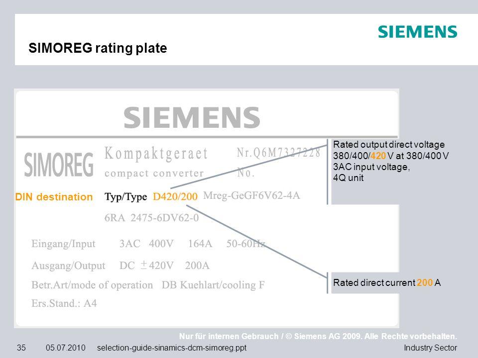 Nur für internen Gebrauch / © Siemens AG 2009. Alle Rechte vorbehalten. Industry Sector35 05.07.2010 selection-guide-sinamics-dcm-simoreg.ppt SIMOREG