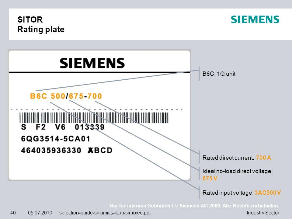 Nur für internen Gebrauch / © Siemens AG 2009. Alle Rechte vorbehalten. Industry Sector40 05.07.2010 selection-guide-sinamics-dcm-simoreg.ppt SITOR Ra