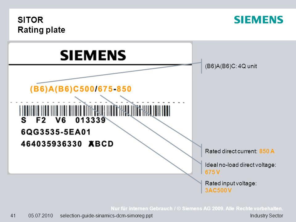 Nur für internen Gebrauch / © Siemens AG 2009. Alle Rechte vorbehalten. Industry Sector41 05.07.2010 selection-guide-sinamics-dcm-simoreg.ppt SITOR Ra