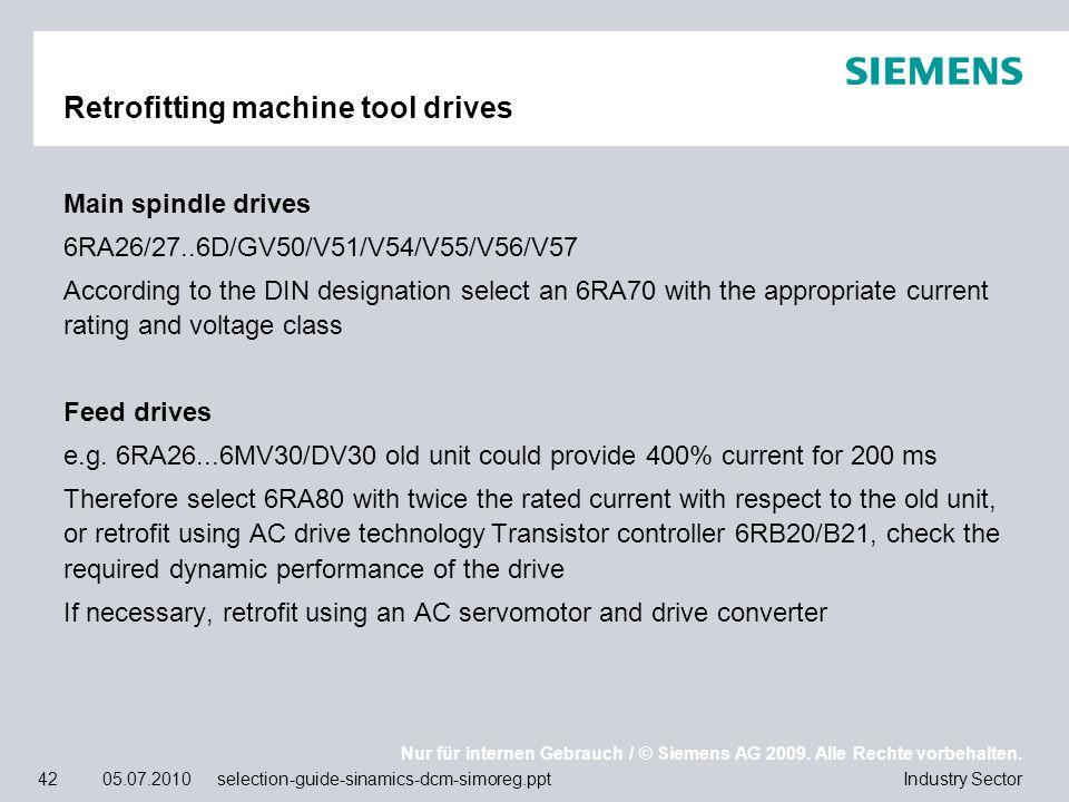 Nur für internen Gebrauch / © Siemens AG 2009. Alle Rechte vorbehalten. Industry Sector42 05.07.2010 selection-guide-sinamics-dcm-simoreg.ppt Retrofit