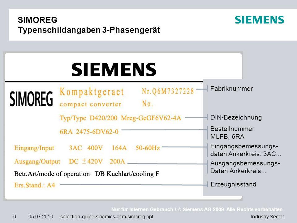 Nur für internen Gebrauch / © Siemens AG 2009. Alle Rechte vorbehalten. Industry Sector6 05.07.2010 selection-guide-sinamics-dcm-simoreg.ppt SIMOREG T