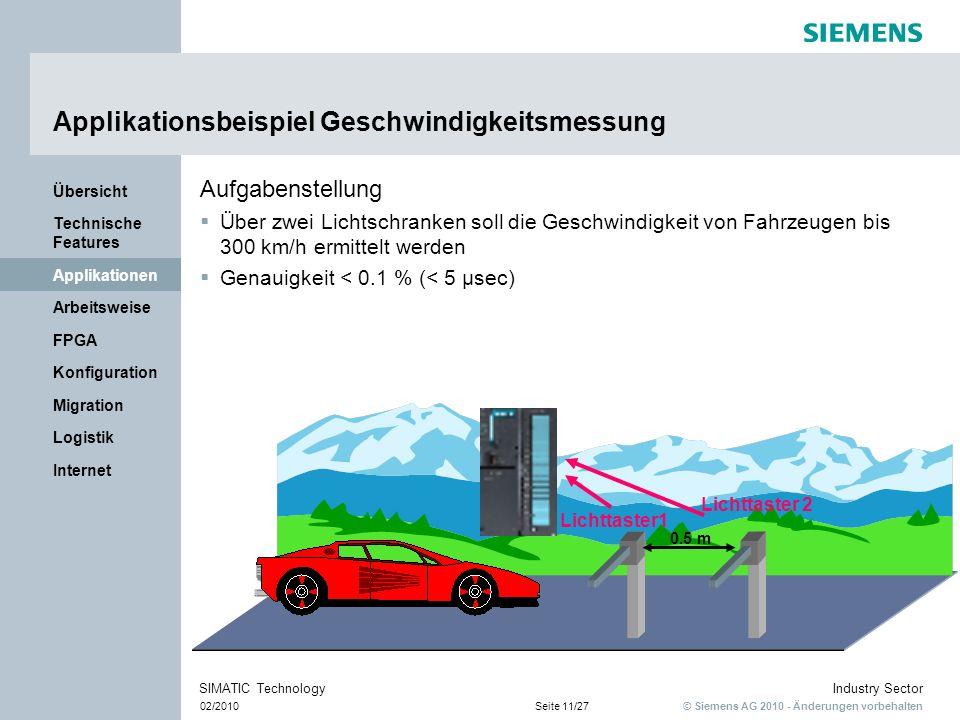 © Siemens AG 2010 - Änderungen vorbehalten Industry Sector 02/2010Seite 11/27 SIMATIC Technology Internet Logistik Migration Konfiguration FPGA Arbeit