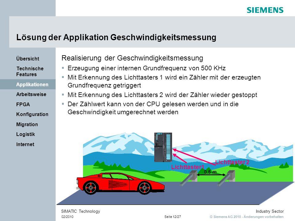 © Siemens AG 2010 - Änderungen vorbehalten Industry Sector 02/2010Seite 12/27 SIMATIC Technology Internet Logistik Migration Konfiguration FPGA Arbeit