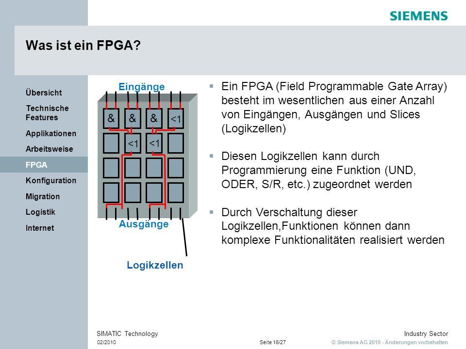 © Siemens AG 2010 - Änderungen vorbehalten Industry Sector 02/2010Seite 16/27 SIMATIC Technology Internet Logistik Migration Konfiguration FPGA Arbeit