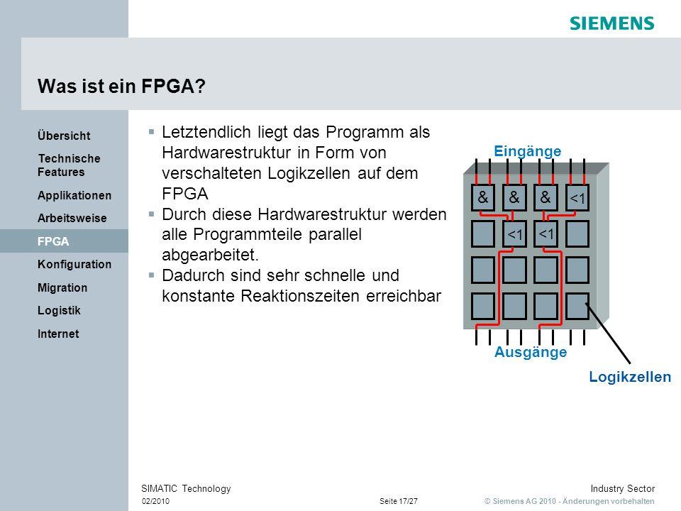 © Siemens AG 2010 - Änderungen vorbehalten Industry Sector 02/2010Seite 17/27 SIMATIC Technology Internet Logistik Migration Konfiguration FPGA Arbeit