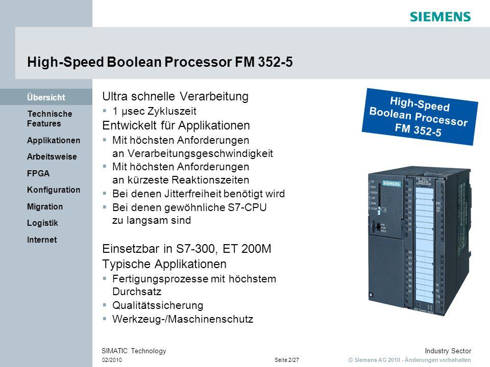 © Siemens AG 2010 - Änderungen vorbehalten Industry Sector 02/2010Seite 2/27 SIMATIC Technology Internet Logistik Migration Konfiguration FPGA Arbeits