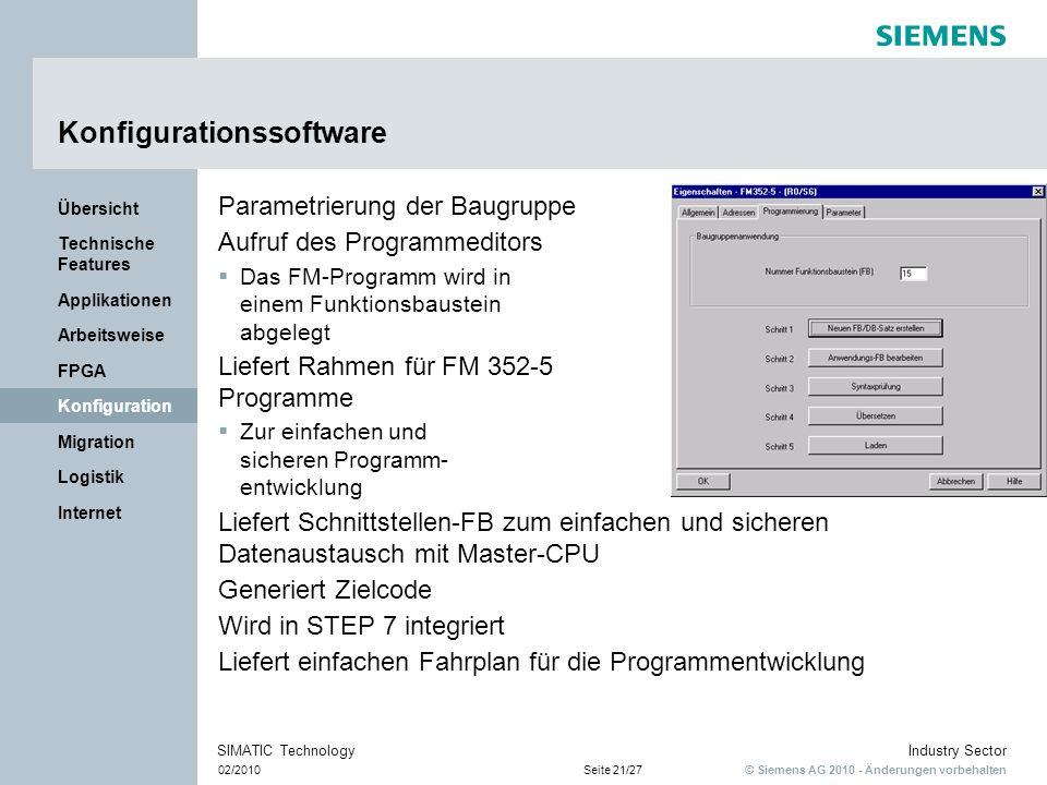 © Siemens AG 2010 - Änderungen vorbehalten Industry Sector 02/2010Seite 21/27 SIMATIC Technology Internet Logistik Migration Konfiguration FPGA Arbeit