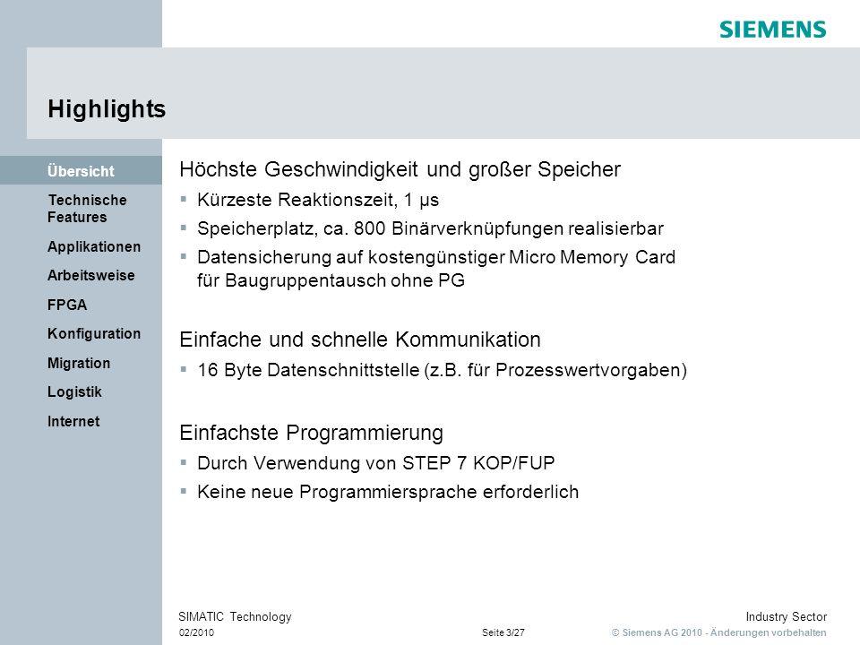© Siemens AG 2010 - Änderungen vorbehalten Industry Sector 02/2010Seite 14/27 SIMATIC Technology Internet Logistik Migration Konfiguration FPGA Arbeitsweise Applikationen Technische Features Übersicht Lösung der Applikation Teile härten 1.