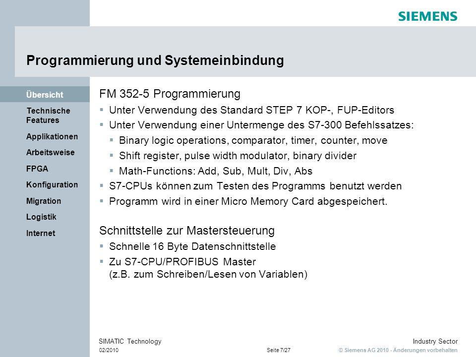 © Siemens AG 2010 - Änderungen vorbehalten Industry Sector 02/2010Seite 18/27 SIMATIC Technology Internet Logistik Migration Konfiguration FPGA Arbeitsweise Applikationen Technische Features Übersicht Vergleich FPGA mit SPS Programmbearbeitung && <1 & Eingänge Ausgänge <1 1 µs FPGA parallele Bearbeitungsequenzielle Bearbeitung Netzwerk 1 Netzwerk 2 SPS 1 ms