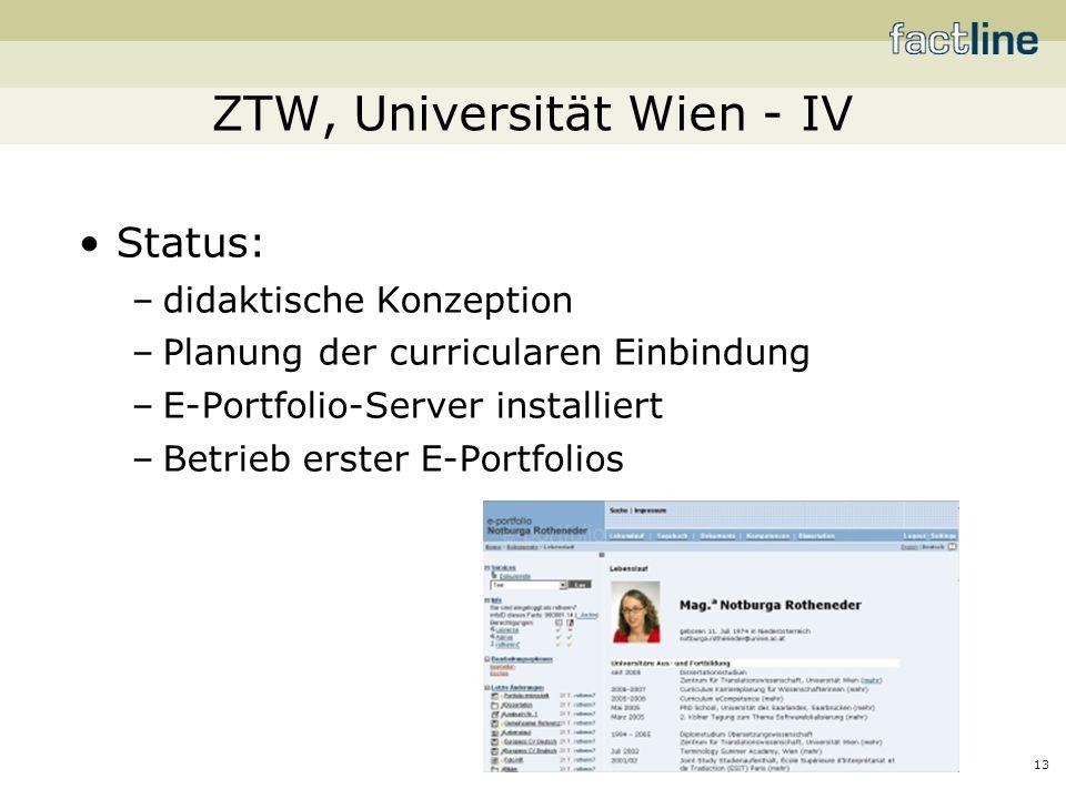 13 ZTW, Universität Wien - IV Status: –didaktische Konzeption –Planung der curricularen Einbindung –E-Portfolio-Server installiert –Betrieb erster E-Portfolios