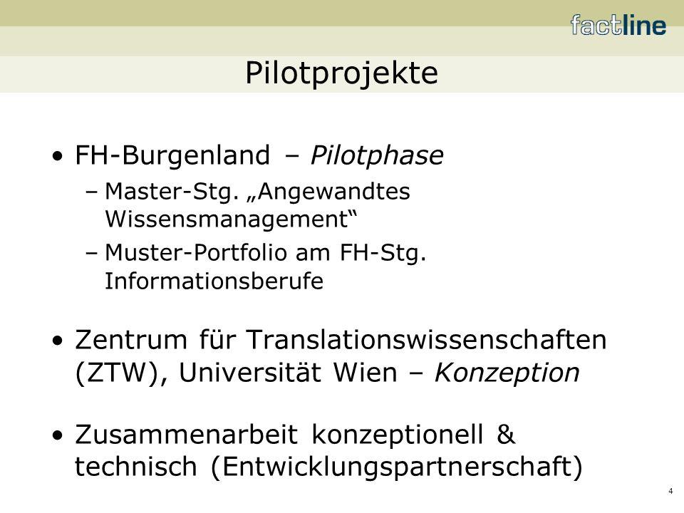 4 Pilotprojekte FH-Burgenland – Pilotphase –Master-Stg.