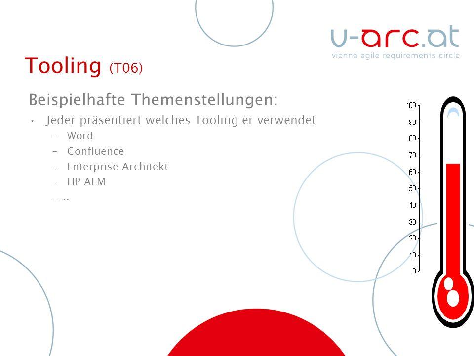 Tooling (T06) Beispielhafte Themenstellungen: Jeder präsentiert welches Tooling er verwendet –Word –Confluence –Enterprise Architekt –HP ALM …..