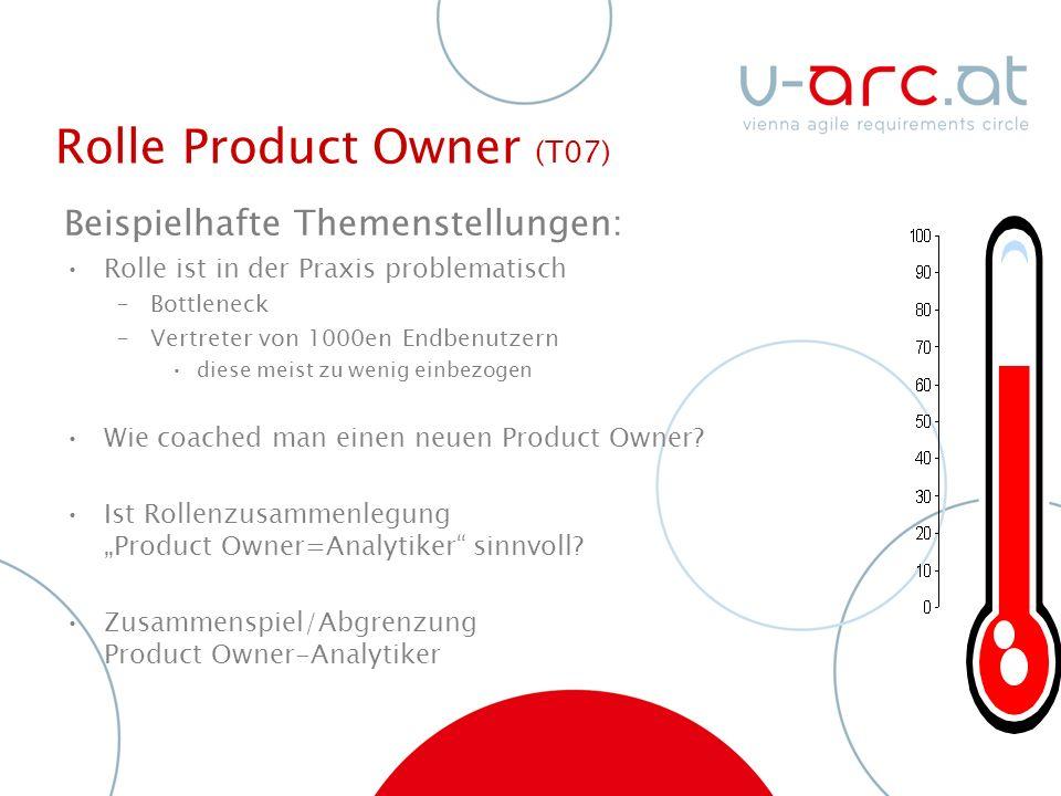 Rolle Product Owner (T07) Beispielhafte Themenstellungen: Rolle ist in der Praxis problematisch –Bottleneck –Vertreter von 1000en Endbenutzern diese meist zu wenig einbezogen Wie coached man einen neuen Product Owner.