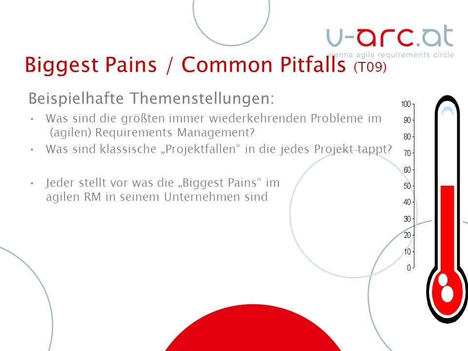 Biggest Pains / Common Pitfalls (T09) Beispielhafte Themenstellungen: Was sind die größten immer wiederkehrenden Probleme im (agilen) Requirements Management.