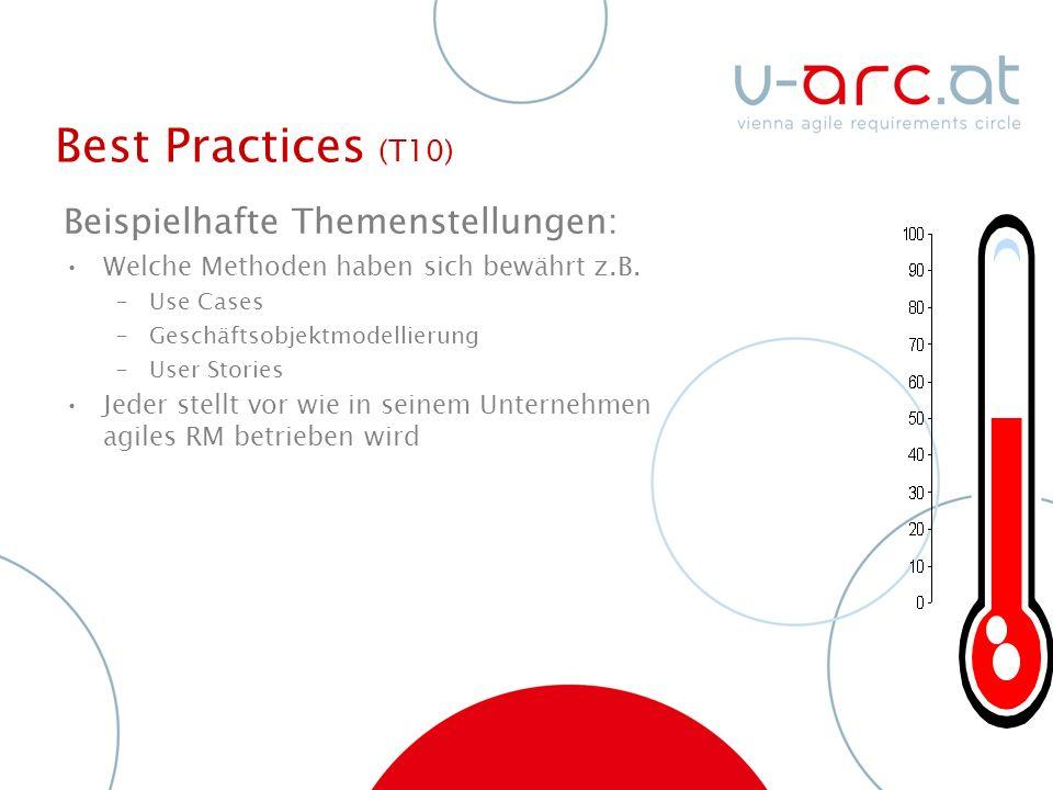 Best Practices (T10) Beispielhafte Themenstellungen: Welche Methoden haben sich bewährt z.B.