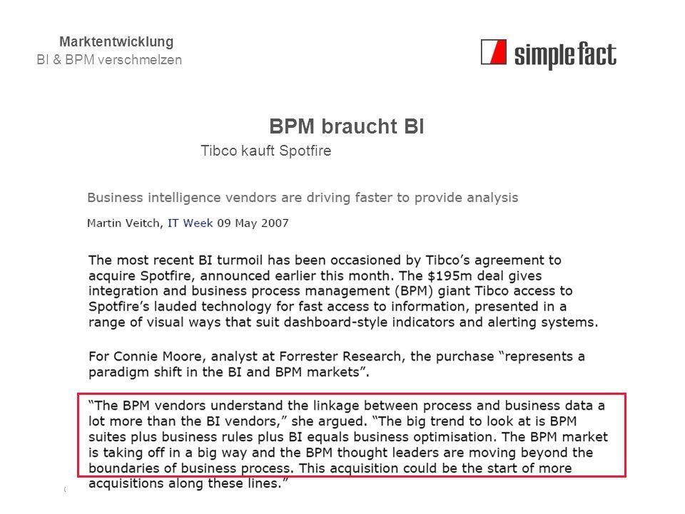 © simple fact AG I www.simplefact.de11 BPM braucht BI Tibco kauft Spotfire Marktentwicklung BI & BPM verschmelzen