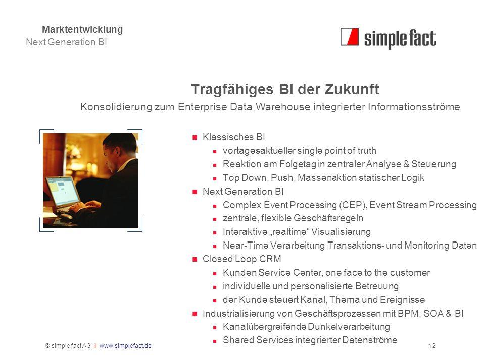 © simple fact AG I www.simplefact.de12 Tragfähiges BI der Zukunft Konsolidierung zum Enterprise Data Warehouse integrierter Informationsströme Klassis