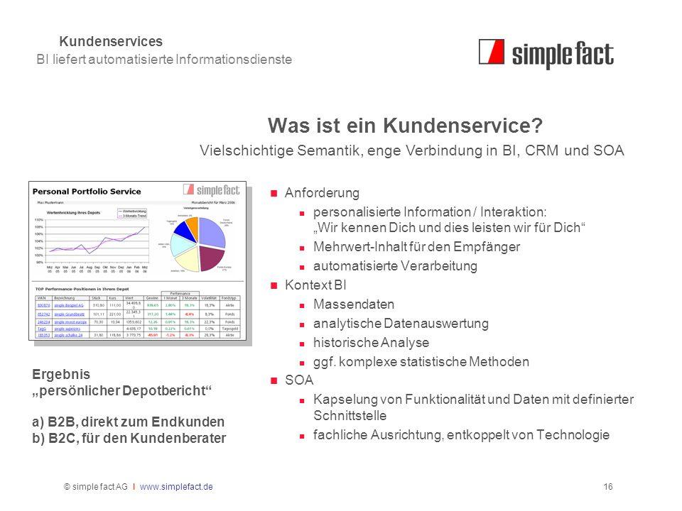 © simple fact AG I www.simplefact.de16 Was ist ein Kundenservice? Anforderung personalisierte Information / Interaktion: Wir kennen Dich und dies leis