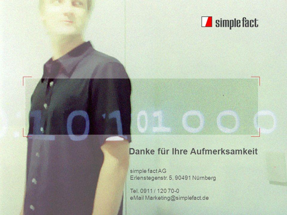 © simple fact AG I www.simplefact.de22 Danke für Ihre Aufmerksamkeit simple fact AG Erlenstegenstr. 5, 90491 Nürnberg Tel. 0911 / 120 70-0 eMail Marke