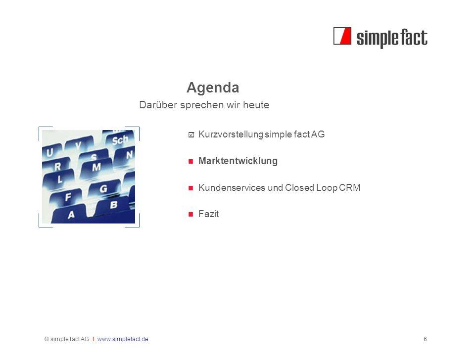 © simple fact AG I www.simplefact.de6 Agenda Darüber sprechen wir heute Kurzvorstellung simple fact AG Marktentwicklung Kundenservices und Closed Loop