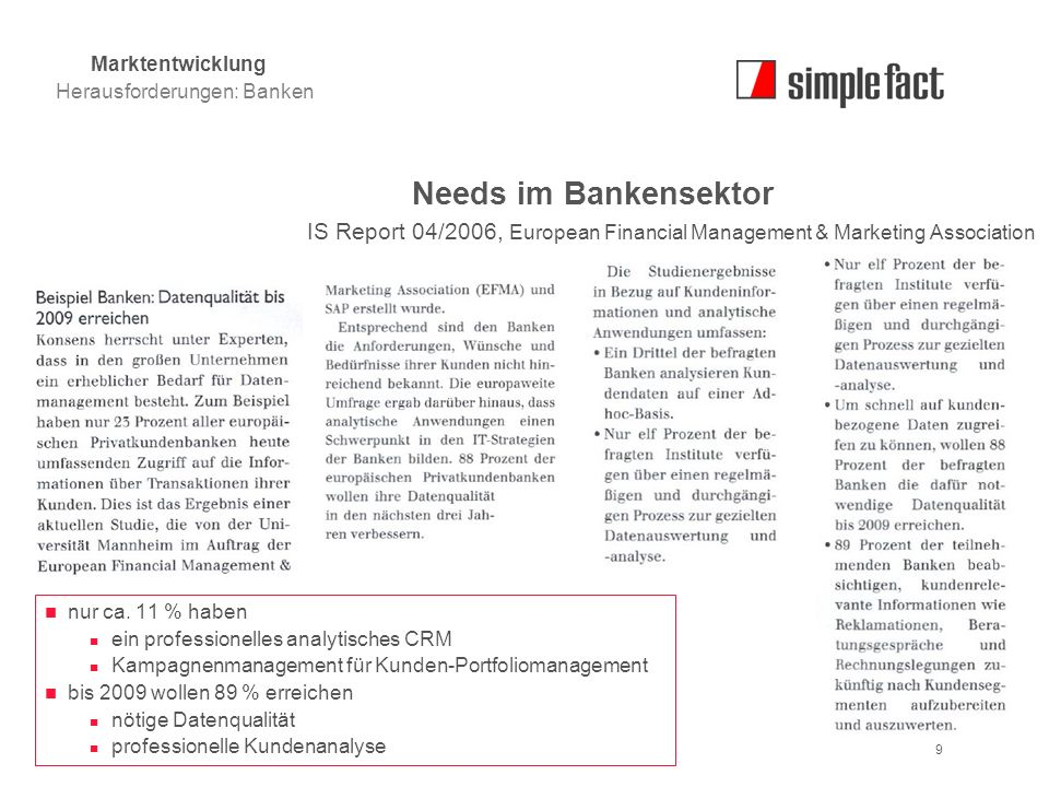 © simple fact AG I www.simplefact.de9 Needs im Bankensektor IS Report 04/2006, European Financial Management & Marketing Association nur ca. 11 % habe