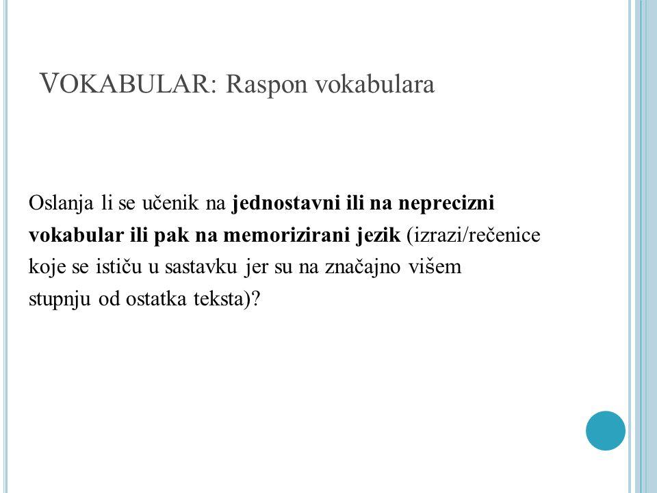 V OKABULAR: Raspon vokabulara Oslanja li se učenik na jednostavni ili na neprecizni vokabular ili pak na memorizirani jezik (izrazi/rečenice koje se i