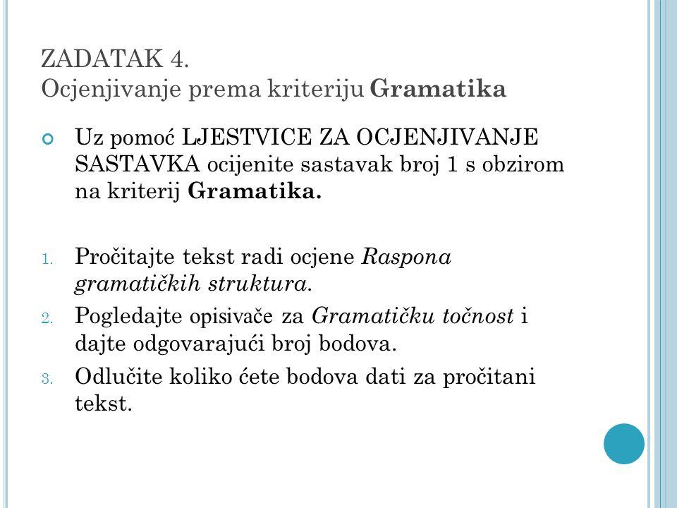 ZADATAK 4. Ocjenjivanje prema kriteriju Gramatika Uz pomoć LJESTVICE ZA OCJENJIVANJE SASTAVKA ocijenite sastavak broj 1 s obzirom na kriterij Gramatik