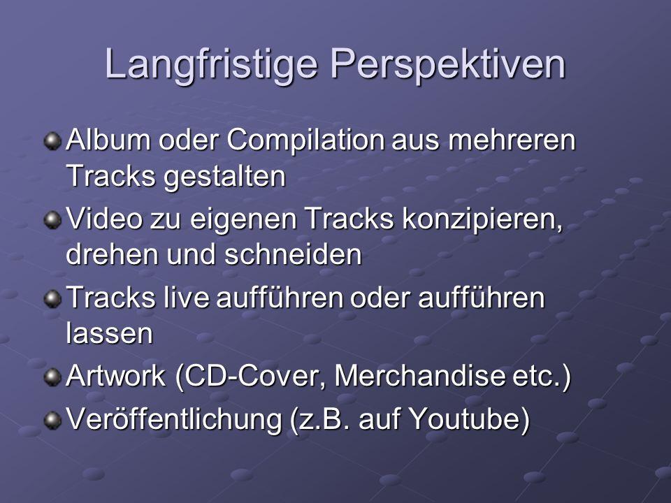 Langfristige Perspektiven Album oder Compilation aus mehreren Tracks gestalten Video zu eigenen Tracks konzipieren, drehen und schneiden Tracks live a