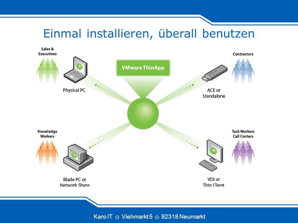 Karo IT Viehmarkt 5 92318 Neumarkt Arbeitet mit jedem Softwareverteilungssystem Audit & Deliver ThinApp Packages über die gleichen Systeme wie nativ installierte Anwendungen (MS, BMC, HP, CA)