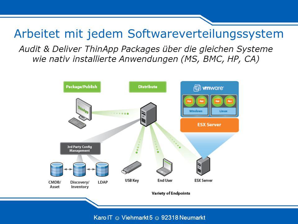 Karo IT Viehmarkt 5 92318 Neumarkt Arbeitet mit jedem Softwareverteilungssystem Audit & Deliver ThinApp Packages über die gleichen Systeme wie nativ i