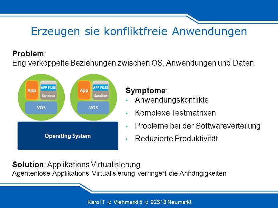Karo IT Viehmarkt 5 92318 Neumarkt Erzeugen sie konfliktfreie Anwendungen Symptome: Anwendungskonflikte Komplexe Testmatrixen Probleme bei der Softwar