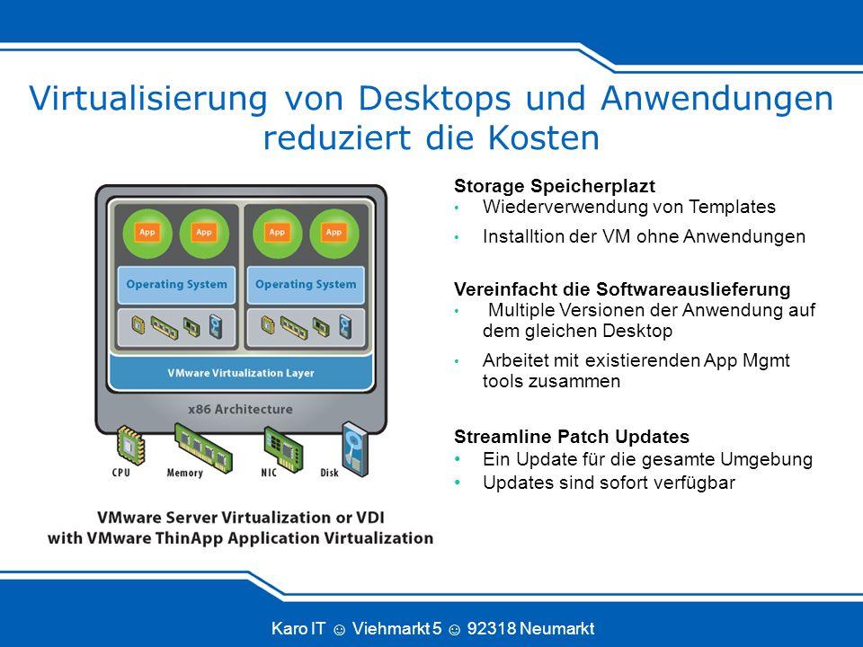 Karo IT Viehmarkt 5 92318 Neumarkt Storage Speicherplazt Wiederverwendung von Templates Installtion der VM ohne Anwendungen Vereinfacht die Softwareau