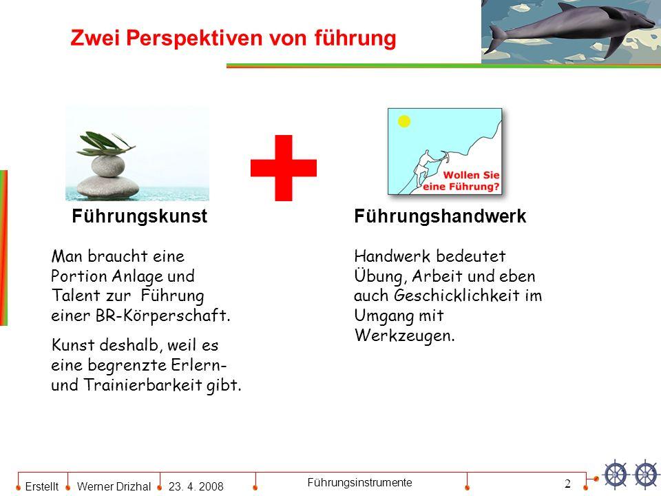 Erstellt Werner Drizhal23. 4. 2008 Führungsinstrumente Zwei Perspektiven von führung 2 FührungskunstFührungshandwerk Man braucht eine Portion Anlage u
