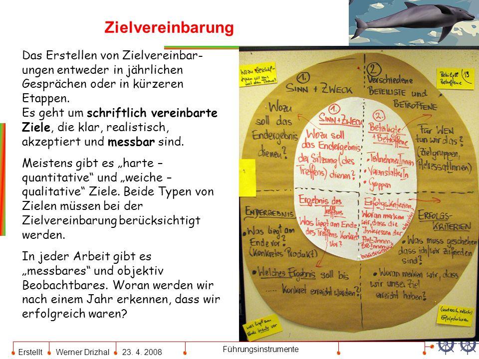 Erstellt Werner Drizhal23. 4. 2008 Führungsinstrumente Zielvereinbarung Das Erstellen von Zielvereinbar- ungen entweder in jährlichen Gesprächen oder