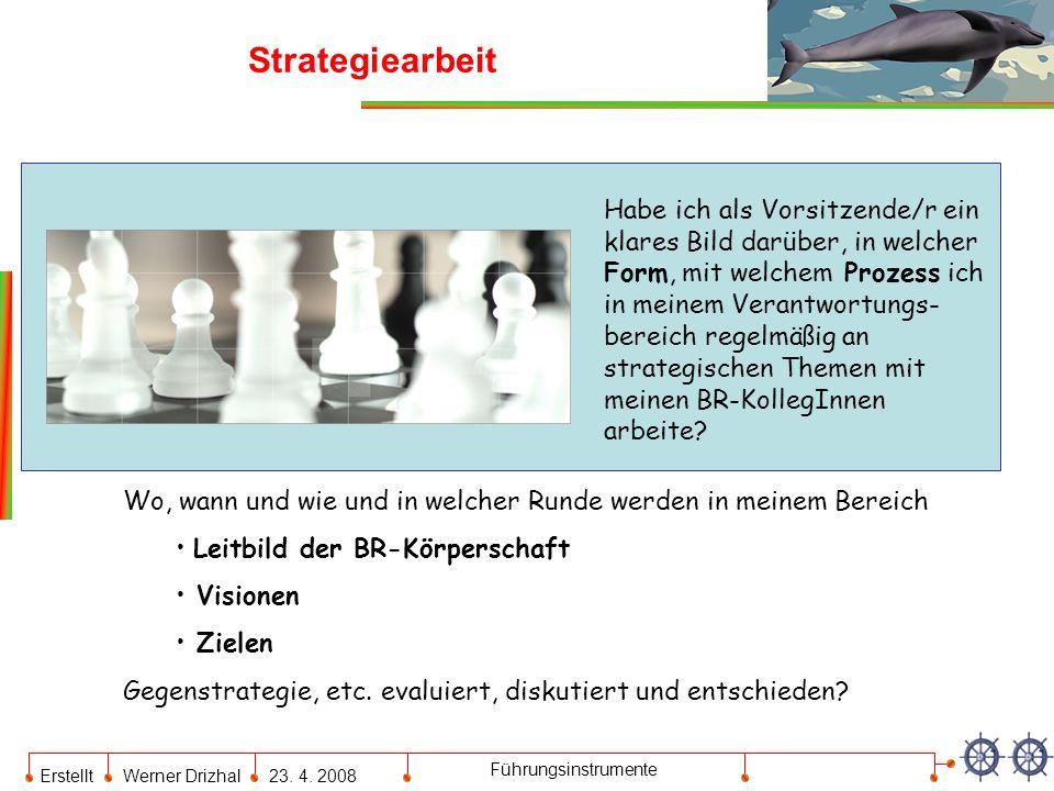 Erstellt Werner Drizhal23. 4. 2008 Führungsinstrumente Strategiearbeit Habe ich als Vorsitzende/r ein klares Bild darüber, in welcher Form, mit welche