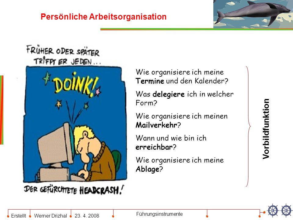 Erstellt Werner Drizhal23. 4. 2008 Führungsinstrumente Persönliche Arbeitsorganisation Wie organisiere ich meine Termine und den Kalender? Was delegie